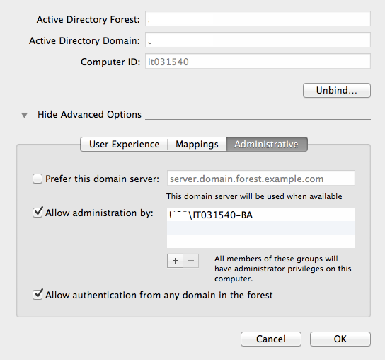 Give Active Directory group members admin rights to their Mac while